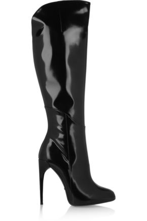 GUCCI Polished-leather knee boots