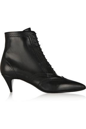 SAINT LAURENT Cat brogue-style leather ankle boots