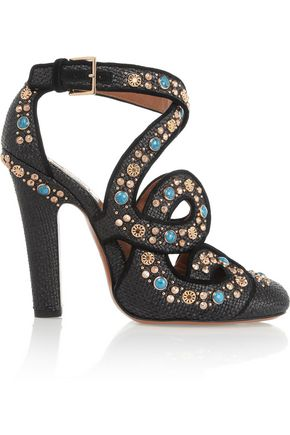 ALAÏA Cutout embellished raffia pumps