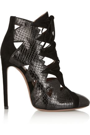 ALAÏA Cutout python and suede ankle boots