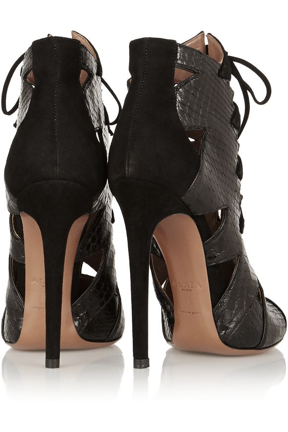 Cutout python and suede ankle boots   ALAÏA   Sale up to 70% off   THE  OUTNET