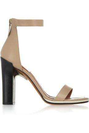 GIVENCHY Ruby sandals with gold metal details in nude leather with contrasting black heels