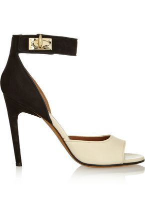 GIVENCHY Shark Lock nubuck and textured-leather sandals in beige and black