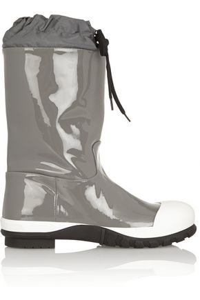 MIU MIU Shell-trimmed patent-leather boots