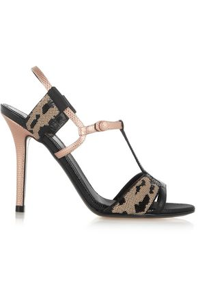 FENDI Sequined lizard-effect leather sandals