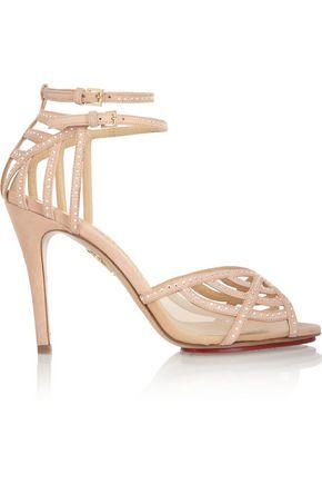 CHARLOTTE OLYMPIA Octavia Swarovski crystal-embellished suede sandals