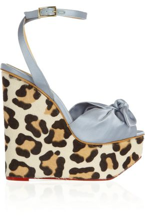CHARLOTTE OLYMPIA Miranda satin and calf hair wedge sandals