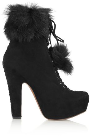 ALAÏA Shearling-trimmed suede ankle boots