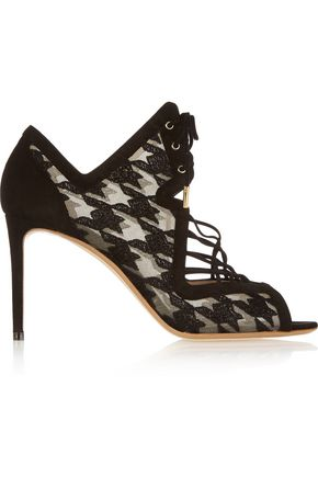 NICHOLAS KIRKWOOD Ava houndstooth-embroidered mesh and suede sandals