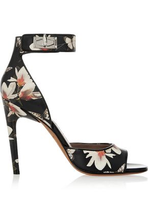 GIVENCHY Shark Lock sandals in magnolia-print leather