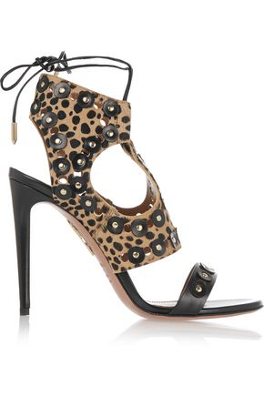 AQUAZZURA Rebel Studs leopard-print calf hair and leather sandals