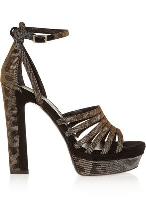TAMARA MELLON Supreme metallic twill and suede sandals