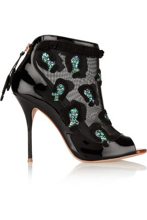 SOPHIA WEBSTER Felice embellished mesh and patent-leather ankle boots