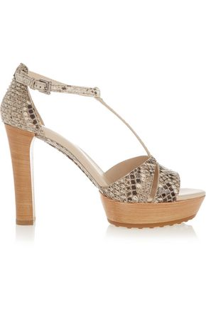 TOD'S Python and leather platform sandals
