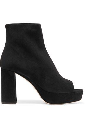 MIU MIU Suede peep-toe ankle boots
