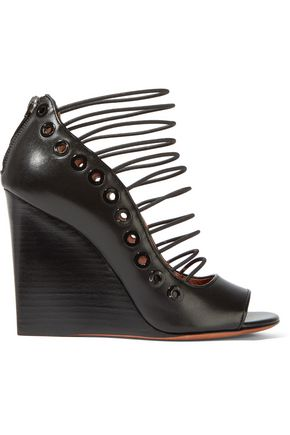 GIVENCHY Ria wedge sandals in black leather