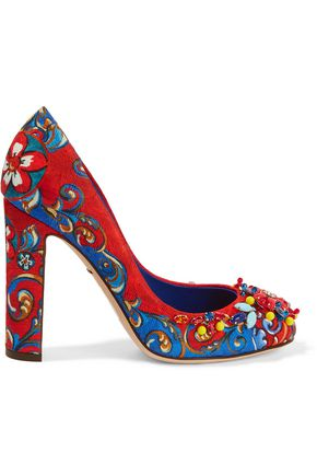 DOLCE & GABBANA Embellished printed brocade pumps