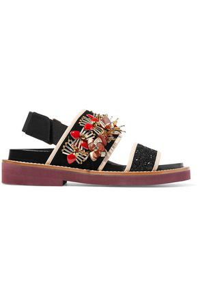 MARNI Embellished glittered leather and suede slingback sandals