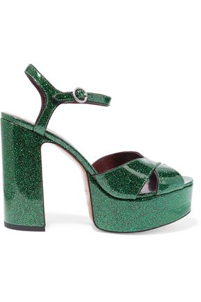 MARC JACOBS Debbie glittered leather platform sandals