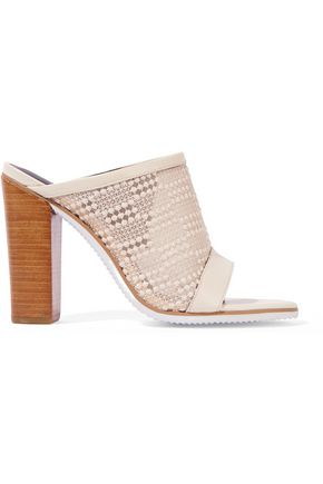 TIBI Nora leather-trimmed embroidered mesh sandals