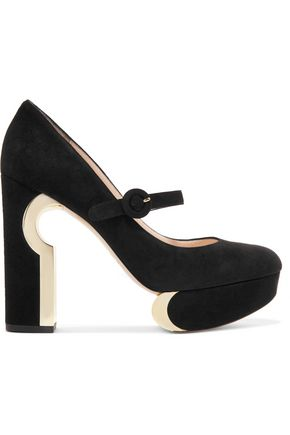 NICHOLAS KIRKWOOD Metallic-trimmed suede Mary Jane platform pumps
