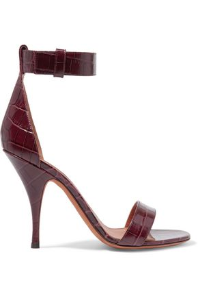 GIVENCHY Sandals in burgundy croc-effect leather