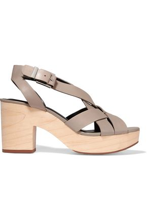REBECCA MINKOFF Jessica leather and wood sandals