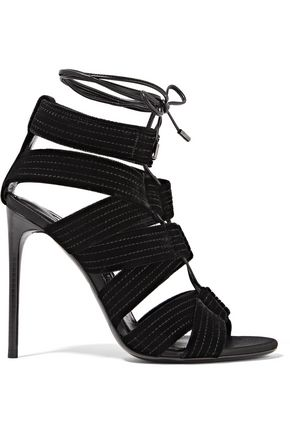 TOM FORD Lace-up leather-trimmed velvet sandals