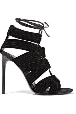 TOM FORD Lace-up leather-trimmed velvet sandals
