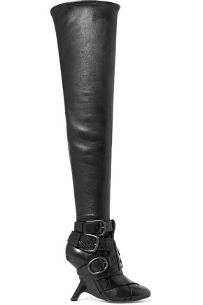 TOM FORD Buckled leather over-the-knee boots