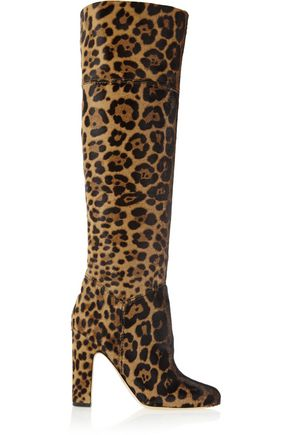 BRIAN ATWOOD Renee leopard-print calf hair knee boots
