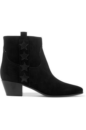 SAINT LAURENT Star-appliquéd suede ankle boots