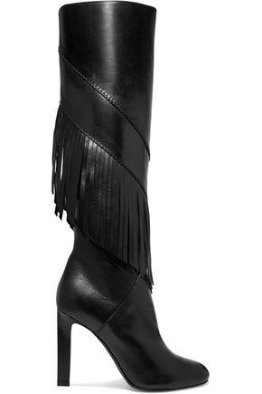 SAINT LAURENT Grace fringed leather knee boots