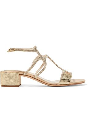 RENE' CAOVILLA Crystal-embellished satin and metallic snake-effect leather sandals