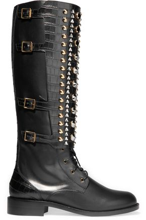 RENE' CAOVILLA Embellished leather boots