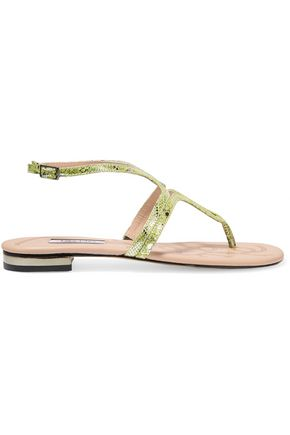 LUCY CHOI London Iago snake-effect metallic leather sandals