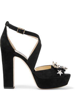JIMMY CHOO Janet embellished suede platform sandals