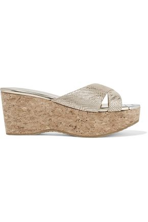 JIMMY CHOO Prima 70 metallic snake-effect suede and cork wedge sandals