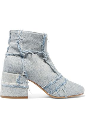 MM6 MAISON MARGIELA Frayed patchwork denim ankle boots