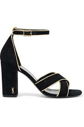 SAINT LAURENT Babies metallic leather-trimmed suede sandals