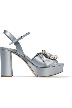 MIU MIU Embellished satin platform sandals