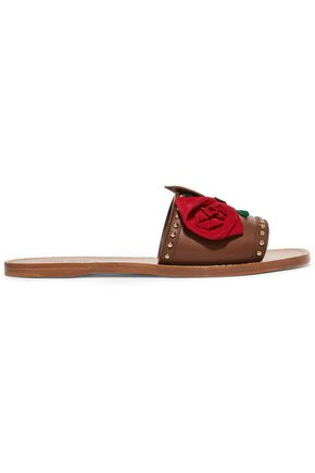 MIU MIU Studded appliquéd leather slides