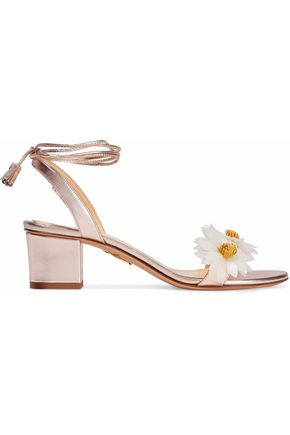 CHARLOTTE OLYMPIA Appliquéd metallic leather sandals