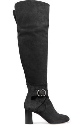 CHLOÉ Buckled suede over-the-knee boots