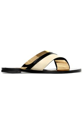 LANVIN Matte and patent-leather slides