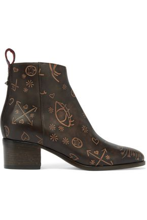 VALENTINO Embossed leather ankle boots