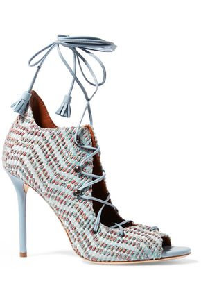 MALONE SOULIERS Leather and embroidered canvas sandals