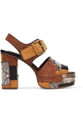 SEE BY CHLOÉ Patchwork snake-effect leather and suede platform sandals