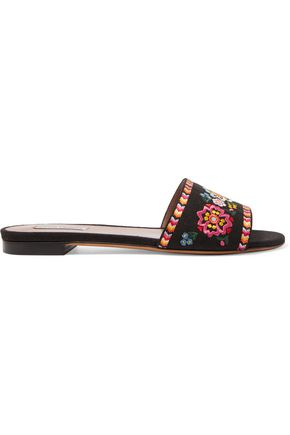 TABITHA SIMMONS Sprinkles Fest embroidered canvas slides