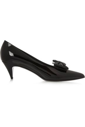 SAINT LAURENT Bow-embellished patent-leather pumps